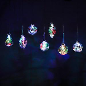 2020 Janela Criativa Luminosa Xmas Pendurado Bola de Natal Transparente Plástico Coroa LED Lâmpada De Natal Decorative Ball T9i00736