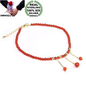 OMHXZJ Wholesale CS57 European Fashion Fine Woman Party Birthday Gift Natural Red Agate Beads Tassel 925 Sterling Silver Anklet