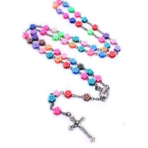 Gioielli Rose Cattolica Rosario cuore colorato Suebito Beads collana Croce braccialetto del rosario religiosi