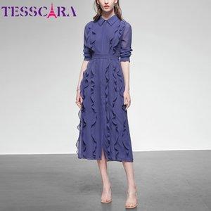 Tesscara Femmes Spring Summer Elegant Mousseline de soie Chemise Haute Qualité Bureau Cocktail Party Robe Femme Ruffle Designer Vestidos J1215