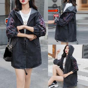 Womail 2020 Female Jeans Hoodie Embroidery Long Sleeve Jeans Blouse Color Regular Outwear denim jacket women long oversize M-5xl
