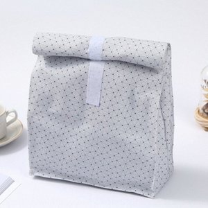 siaZK Printed canvas pawnshop canvas lunch box environmental protection and digestion white aluminum Film lunch box bag outdoor picnic U83Y#