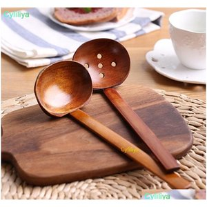 new durable wooden tableware soup spoon japanese ramen wooden long handle colander hot pot spoon