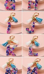 جميلة وعصرية 26 الإنجليزية الأبجدية المفاتيح شفافة الاكريليك كريستال شرابة قلادة حقيبة قلادة قلادة هدية عيد HWC3248