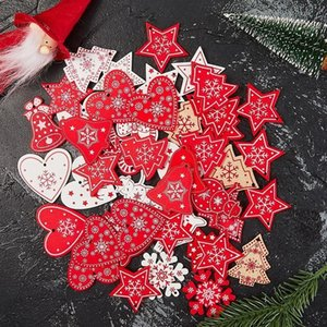 With Rope 10pcs Lot 5cm New Year Natural Wood Christmas Ornaments Pendants Hanging Gifts Xmas Tree Decor Home Decoration 62082