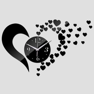 Real Black Love Heart Beautiful Modern Home Decor Wall Acrylic Quartz Clocks Mirror Fashion Clock Pocket Watch