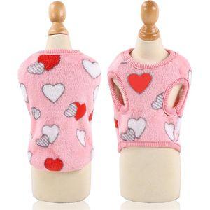 Love Heart Pet Dog Clothes Sleeve Hood Puppy Coat Flannel Plush Teddy Apparel Warm Autumn Winter Accessories 8 5gg P2