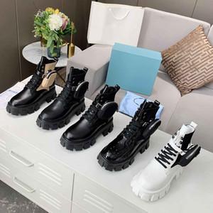 Prada Les nouvelles bottes noires Martin dames bottines plate-forme de plate-forme de sac de poche bottes de chevalier mi-tubes