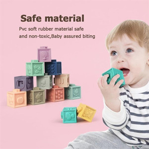 12pcs Baby Grasp Toy Building Blocks 3D Touch Hand Soft Balls Baby Massage Soft Rubber Teethers Squeeze Toy Bath Ball Toys 201224