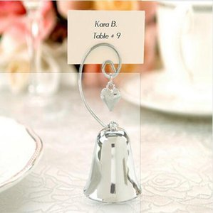 Charming Chrome Heart Bell Place Card Photo Holder With Dangling Heart Charm Baby Shower Love Creative Gift Free Shipping