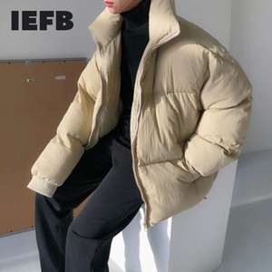 IEFB  2020 New Fashion Autumn Winter Jacket Men Solid Loose Casual Tide Thicken Stand Collar High Street Cotton Coat Male 9A478