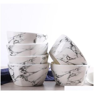 Bowls Dinnerware Kitchen, Dining Bar Home & Garden Drop Delivery 2021 Europe Style Marble Dinner Spoon Bowl Ceramic Table Accessories Kitchen