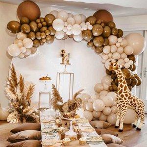 Pastel Macaroon Латексное кремовое кремовое персиковое кожи шары гирлянды Arch Kit Ретро кофейный баллон свадьба день рождения детское душевая вечеринка декор Y0107
