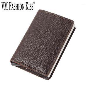 Echtes Leder Freizeit Männer RFID Aluminium dünne kleine Brieftasche S Halter Business ID Karten Fall Bankkarten Brieftaschen1