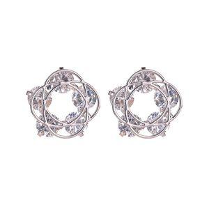 15Pairs Lot European Hollow Flower Stud Earring Simple Cross Diamond Bride Earring Women Copper Gold Ear Charm Jewelry Accessories