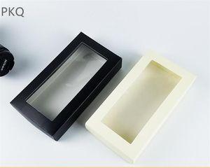10шт черный крафт коробка подарка с прозрачным окном Wallet / Нижнее белье Упаковка Box Birthday Party Оберточные коробки картона