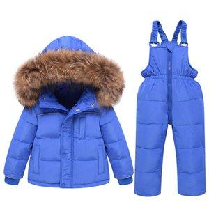 Зимний комбинезон для детей вниз сгущает Baby Boy Лыжный костюм для детей малышей Девочка детский зимний комбинезон Детская утепленная Kid моды пальто для BabyX1019