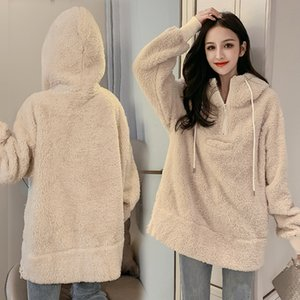 Qiu dong lambs Mao Wei han edition loose clothing female hedge fuzzy female long hooded students lambs wool coat 201019