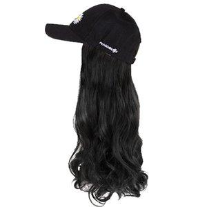 YYOUFU sombrero de la peluca del casquillo del sombrero de béisbol un sintético Integrado largo pelo extensión del pelo a prueba de calor postizo ondulado natural