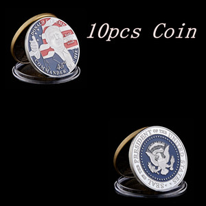 10PCS American 45th President Donald Trump Coin US White House The Statue of Liberty Silver Replica Coin Collection