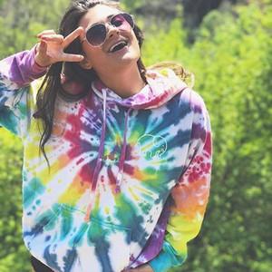 hirigin 2020 New Womens Long Sleeve Hoodie Oversized Rainbow Sweatshirt Tie Dye Print Colorblock Crop Tops Autumn Fashion