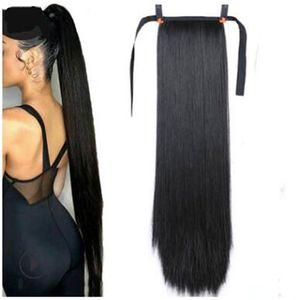 Jovens e beleza longos rabos de cavalo sintéticos sintéticos em cauda fita de cabelo falso com extensões de cauda de pônei resistente ao calor sintético