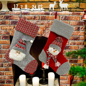 The latest 44CM size, Christmas socks, red and gray snowman style, Christmas decorations, Christmas tree pendants, free shipping