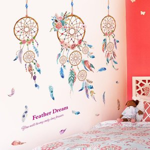Dreamcatcher Wall Sticker DIY Cartoon Feathers Mural Decals for Kids Room Baby Bedroom Nursery Home Decoration