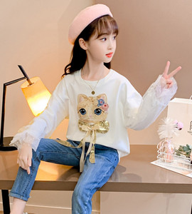 Vieeoease Girls T-shirt Christmas Children Clothing 2020 Fall Winter Fashion Cute Embroidery Cat Long Sleeve Lace T-shirt CC-808