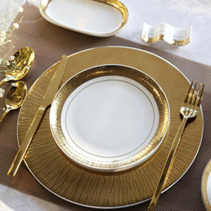 bone china Gold color wedding plates dinner plate steak plate overglaze technology for hotel cake plate snack