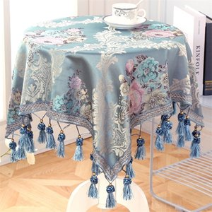 Luxury European Style Round Square Tablecloth with Tassel Embrodered Table Cover for Wedding Decor Christmas Round Table Cloth LJ201223