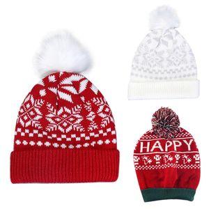 Women Christmas Snowflake Winter Knitted Beanie Hat Cute Fluffy Pompom Stretch Cuffed Skull Cap Ear Warmer Holiday Festival Part
