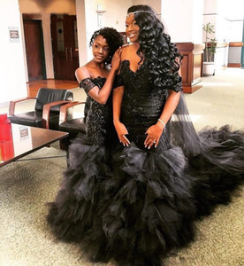 Sexy Black Mermaid Wedding Dresses Off Shoulder Lace up Back Cascading Ruffles Appliques Sequin South African Bridal Gowns
