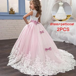 2021 Summer Flower Girls Dress Bridesmaid Kids Dresses For Girls Children Lace Mesh Long Princess Dress Party And Wedding