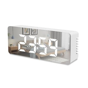 LED Mirror Alarm Clock Digital Snooze Table Clock Wake Up Light Electronic Large Time Temperature Display Clock With USB Cable