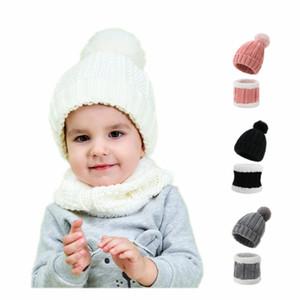 Baby Hats Scarf Set Pom Knitted Rib Beanies Kids Winter Headband Toddler Warm Snow Cap Ski Face Mask Boys Girls Newborn Christmas Gift