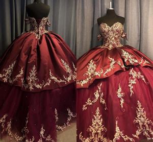 Perle riccioli d'oro Dolce 16 abiti Vestidos de quinceanera Abito per le donne fuori dalla spalla Corsetto posteriore Prom Gown Abiti Abiti da ballo Abiti Lon