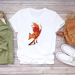 Kadın Karikatür Rahat Kısa Kollu Suluboya Tilki Lady T Shirt Üst T Gömlek Bayanlar Bayan Yaz Grafik Femaleee Gömlek
