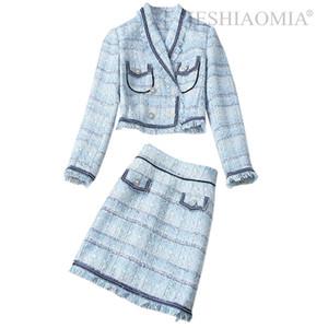 2020 Autumn Double Breasted Fringe Tweed Jacket & Skirt Suit