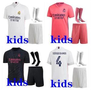 Kids 2020 2021 Football Kits Real Madrid Football Jersey 2020/21 Camiseta de futbol Hazard Benzema ISCO ISCO MODRIC KINDS FOWER KITS