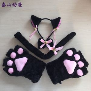 Plush claw Glove Set Cosplay props ear hair band gloves cat tail accessories