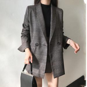 CBAFU autumn spring jacket women suit coats plaid outwear casual turn down collar office wear work runway jackets blazer N785 201013