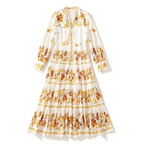 European and American women's clothing 2021 new style Long sleeved V-neck yellow print pleated fashion dress