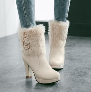 Hot Sale- Beige thick heel fur boots bridal wedding shoes ankle booties luxury designer women boots