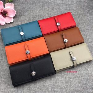 Top Quality Soft Long Wallets de couro inteiro Mulheres Cartão de Cartão Bolsa Bolsa de Moda Cowskin Genuine Couro Vem com Box 514