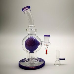 7 Inch Green Purple Glass Beaker Bong 14mm Joint Wax Oil Glass Dab Rigs Ball Percolator Bongs Inverted Showhead Perc