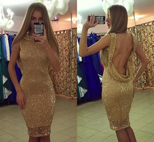 Elegant Open Back Sexy Cocktail Dresses African Women Party Gowns Jewel Neck Sleeveless Knee Length Sequined Short Prom Dresses L159
