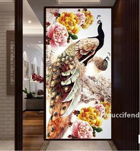 100x50cm DIY 5D Diamond Embroidery Diamond Mosaic New Peacock Soul Love Round Diamond Painting Cross Stitch Kits Home Decoration T200117