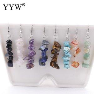 YYW New Handmade Natural Chips Stone Long Fringe Earrings Women Wholesale Jewelry Quartz Tiger Eye Rose Stone Dangle Earrings