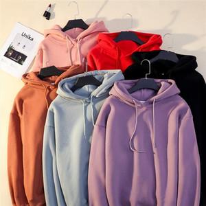 Women Solid Color Oversize Hoodie 2020 Harajuku Plus Velvet Winter Basic Sweatshirt Casual Long Sleeve Thicken Hooded Tops Hoody